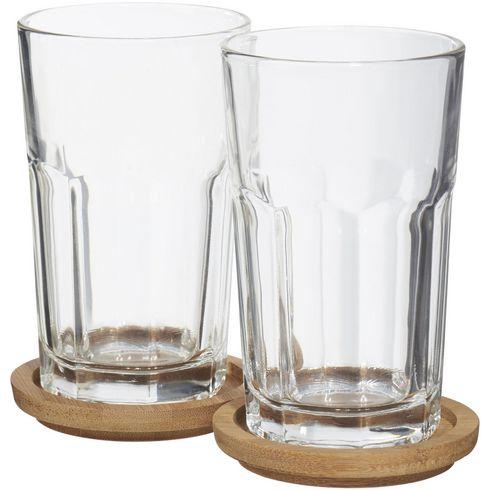 Linden 2 delige glazen set met onderzetters