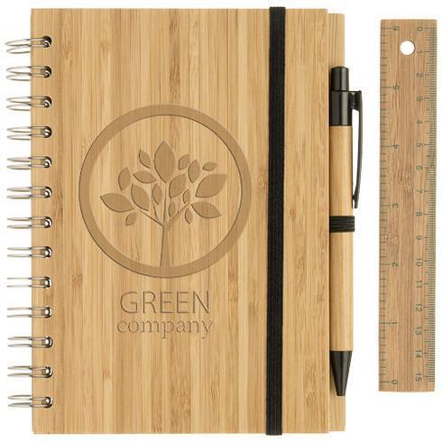 Set bloc-notes format B6 en bambou avec stylo et règle Franklin